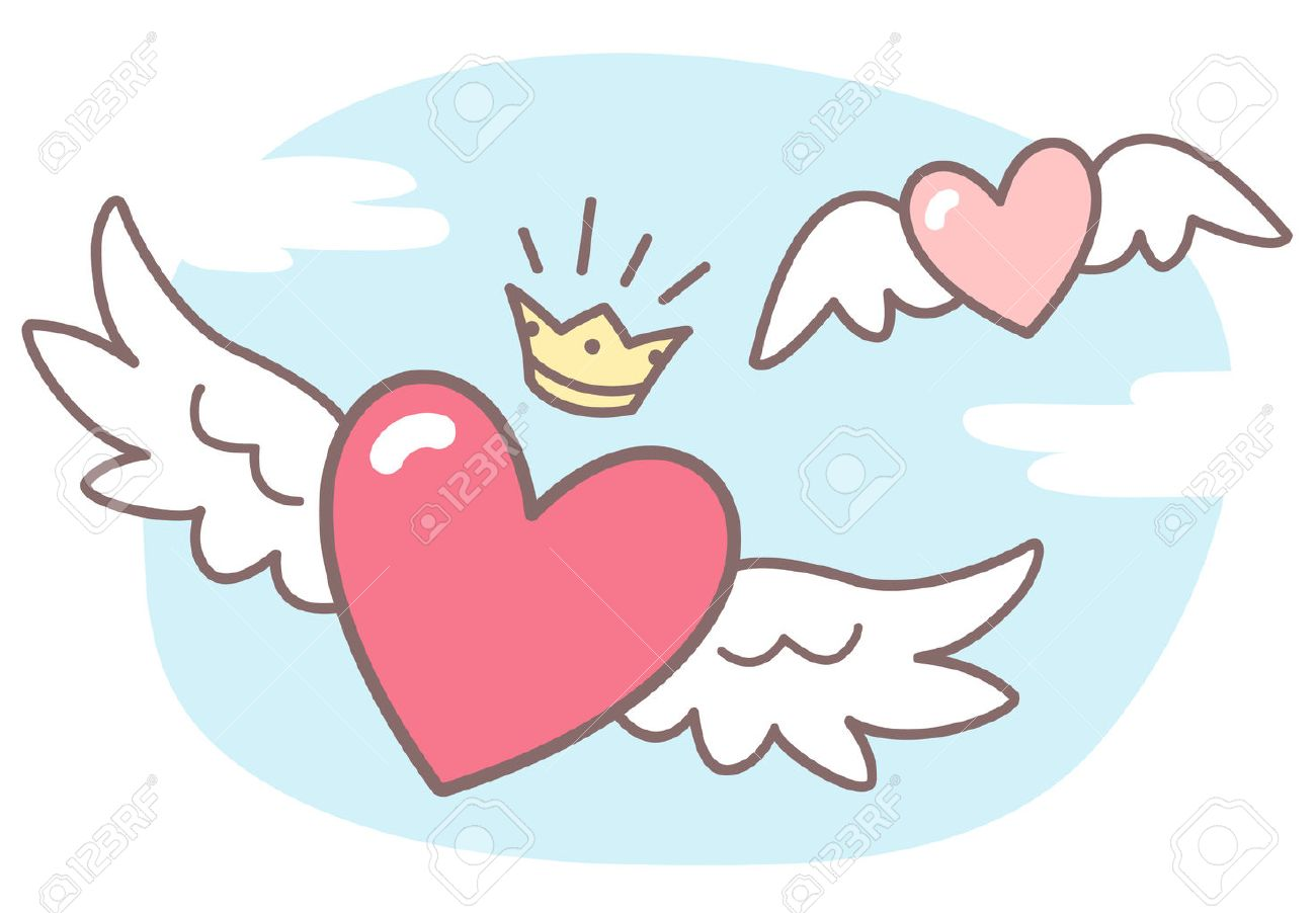 Hearts With Wings Sky With Clouds Valentines Day Vector Illustration Royalty Free Cliparts Vectors And Stock Illustration Image 49583957
