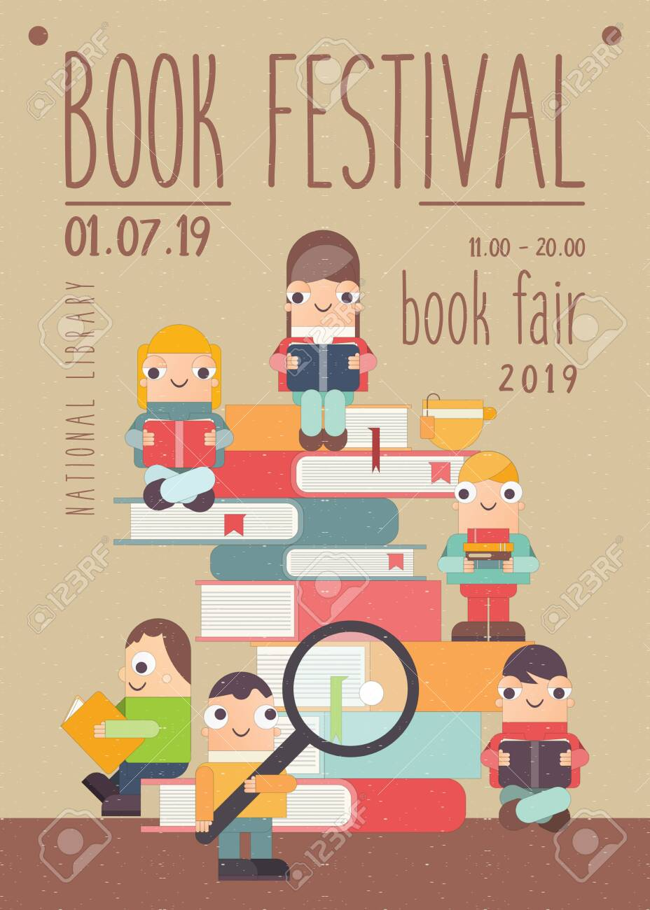 poster for book festival fair reading challenge small cartoon