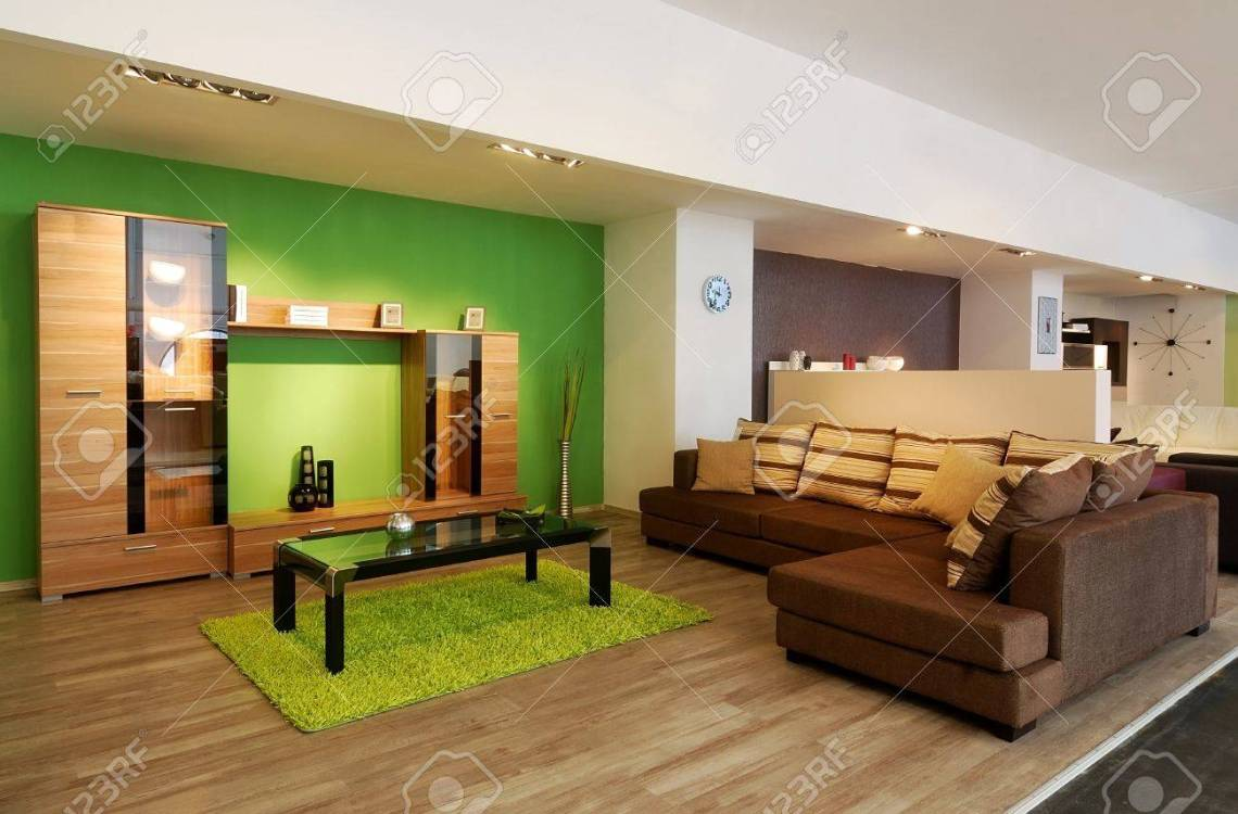 An Image Of A Modern Living Room With Brown Sofa And Green Walls Stock Photo Picture And Royalty Free Image Image 10835949