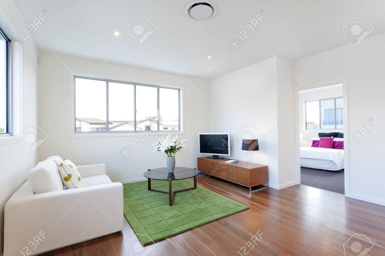 petit salon moderne avec television et canape