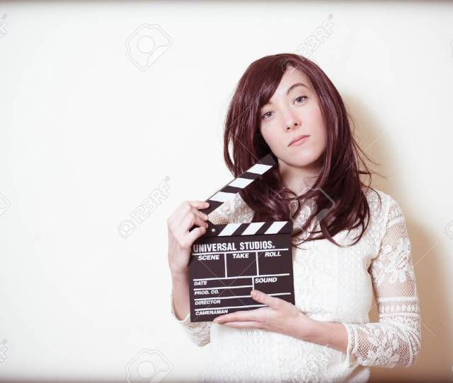 Stock Photo Young Beautiful Cinema Actress With Movie Clapper Board Portrait