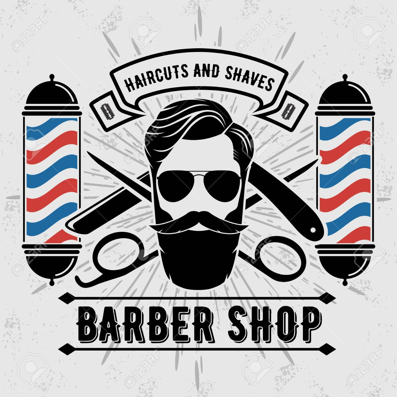 barber shop poster banner template with hipster face vector