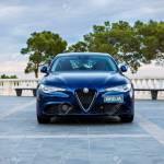 Blue Alfa Romeo Giulia Quadrifoglio At The Exhibition Stock Photo Picture And Royalty Free Image Image 150896299