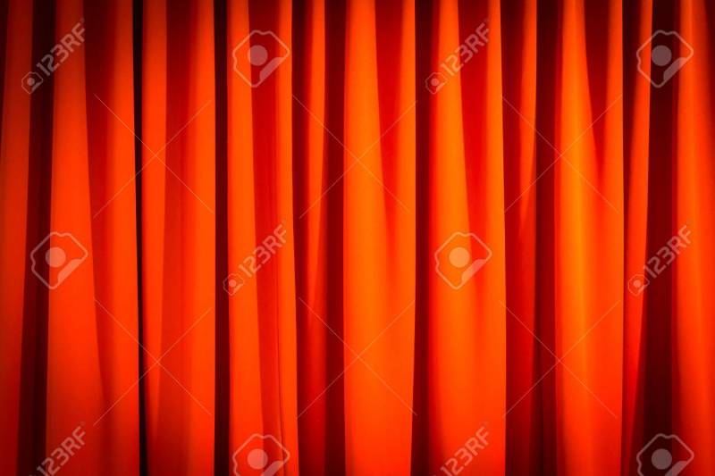 Red Closed Curtain With A Light Spot Use For Background Stock Photo 57593558