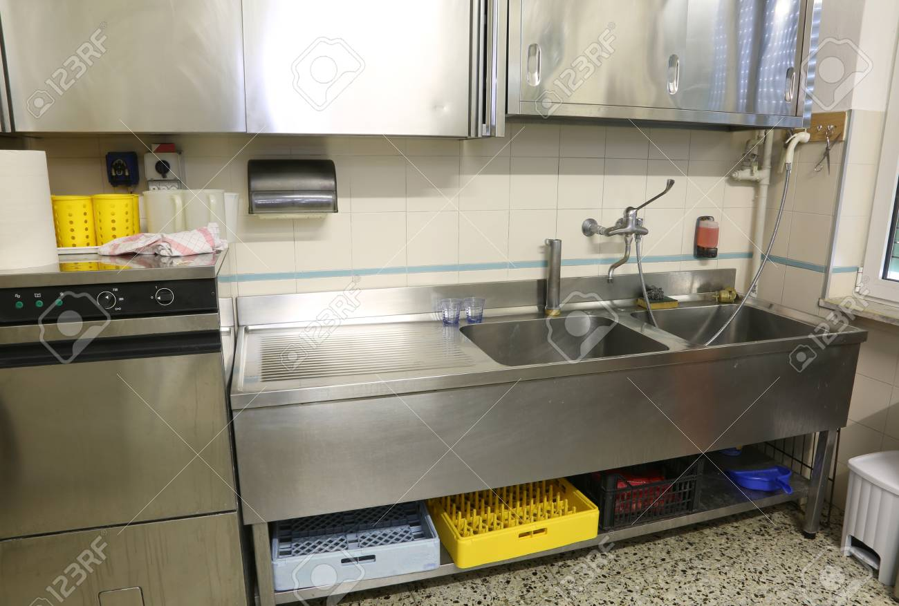 stainless steel furniture of a large industrial kitchen with stock photo picture and royalty free image image 116433548
