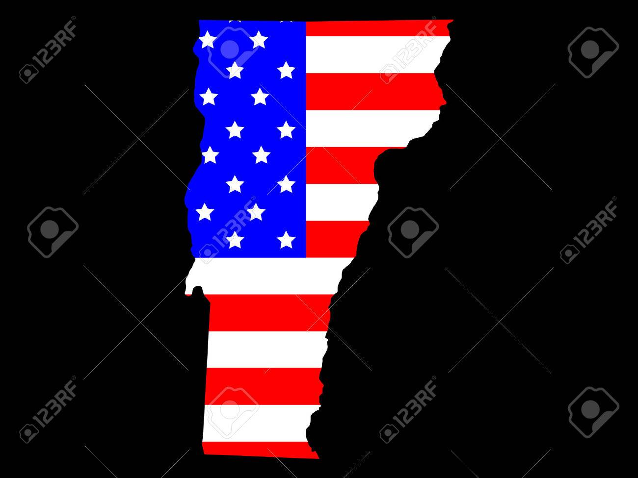 Map Of The State Of Vermont And American Flag Royalty Free Cliparts     Map of the State of Vermont and American flag Stock Vector   878834