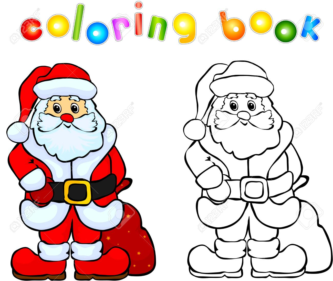 Funny Smiling Santa Claus Coloring Book Illustration For Children Stock Photo Picture And Royalty Free Image Image 42567867