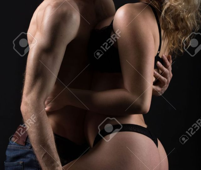 Beautiful Half Naked Couple Kissing About To Have Sex Passionate Foreplay In The Darkness