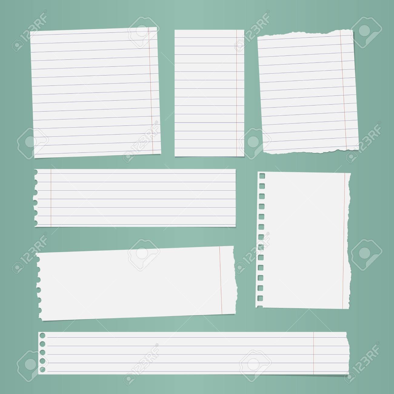 banque d images des morceaux de papier de cahier bordee blanc dechire collees sur fond turquoise