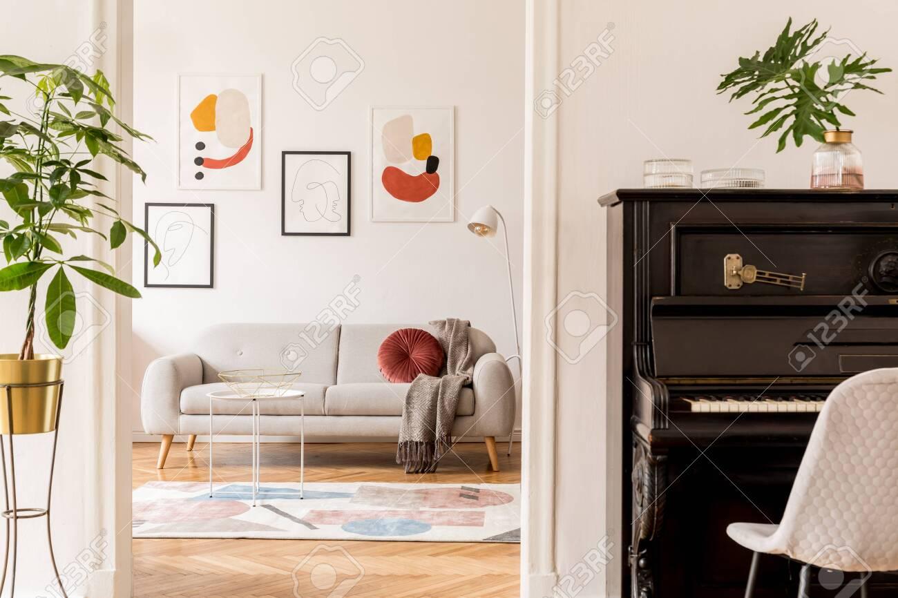 Stylish Retro Living Room With Design Grey Sofa Coffee Table