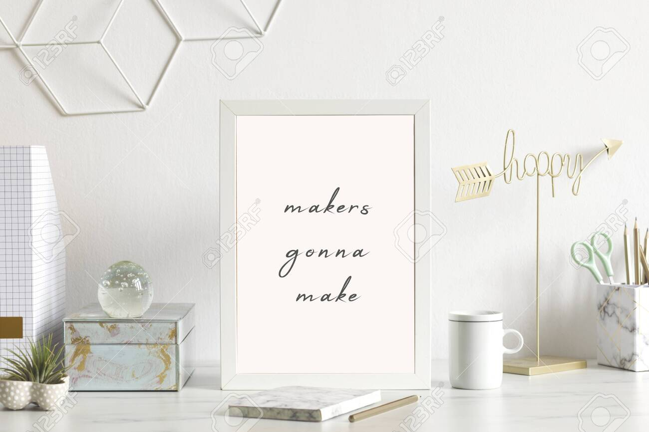 modern and stylish home interior with white mock up poster frame