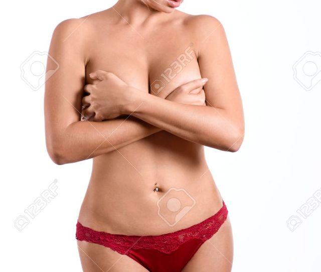 Attractive Glamour Blonde Girl Nude Slim Body Stock Photo
