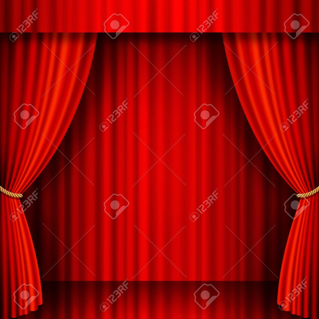 illustration d une scene de theatre avec des rideaux de velours rouge