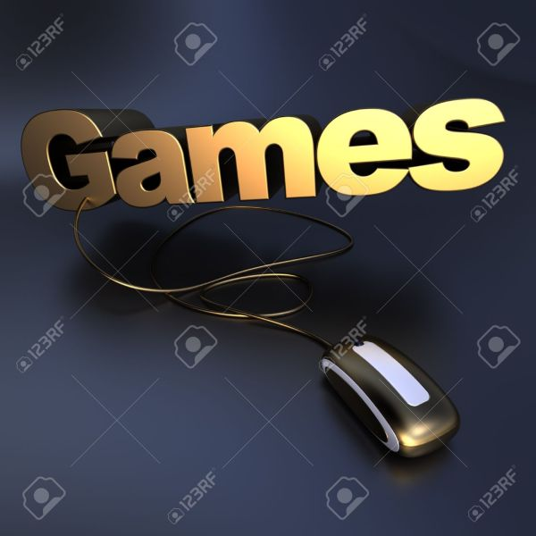 3D Illustration Of The Word Games In Gold Connected To A Computer     3D illustration of the word games in gold connected to a computer mouse  Stock Illustration