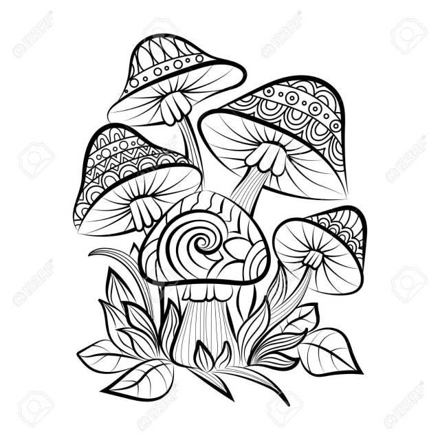Hand Drawn Doodle Outline Mushrooms. Sketch For Adult Coloring