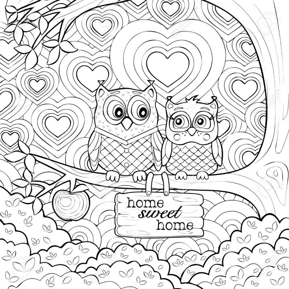 かわいいフクロウ - 芸術療法大人のぬりえページのイラスト素材・ベクタ