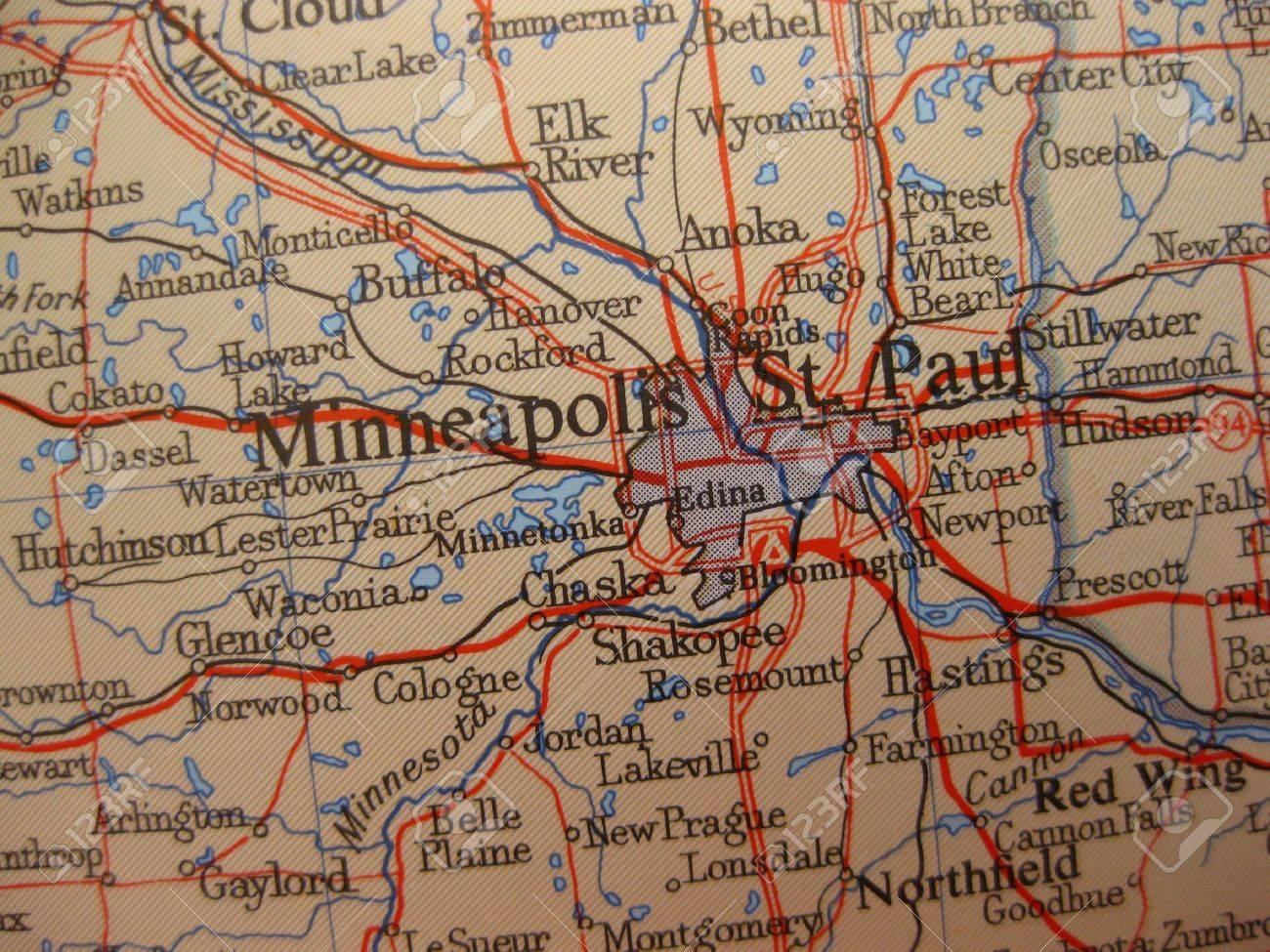 Map Of Minneapolis  Minnesota Stock Photo  Picture And Royalty Free     Map of Minneapolis  Minnesota Stock Photo   5818182