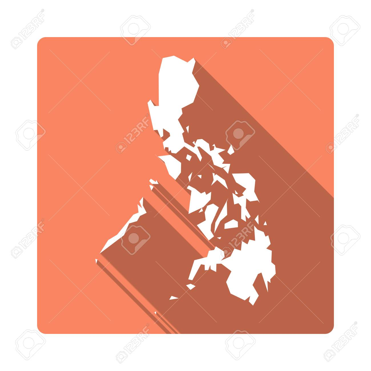 Vector Philippines Map Button  Long Shadow Style Philippines     Vector   Vector Philippines Map Button  Long Shadow Style Philippines Map  Square Icon Isolated on White Background  Flat Orange Country Badge