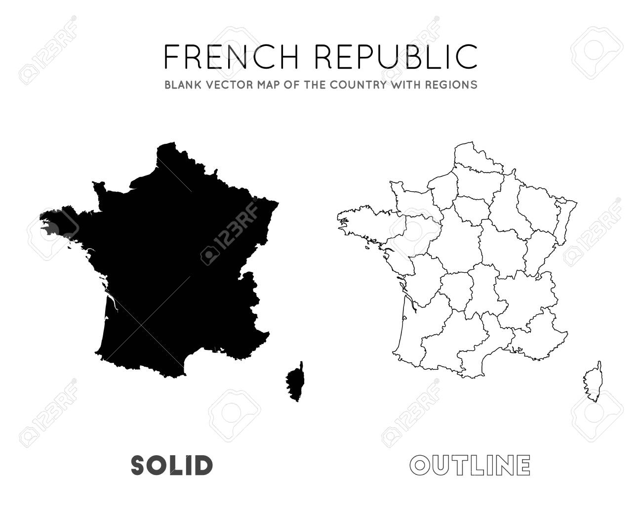France Map Blank Vector Map Of The Country With Regions Borders Royalty Free Cliparts Vectors And Stock Illustration Image 129543153