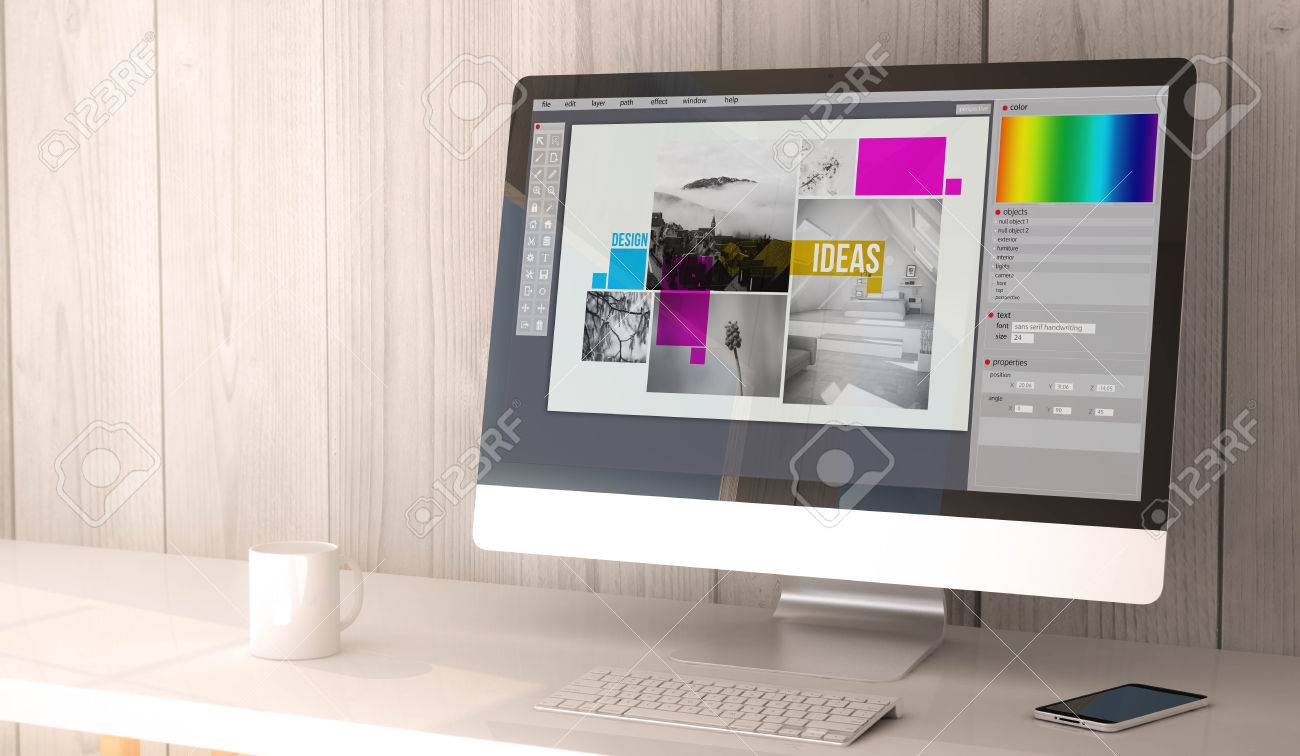Best Kitchen Gallery: 3d Rendering Workspace With Graphic Design Software On The Screen of Graphic Design Workspace  on rachelxblog.com