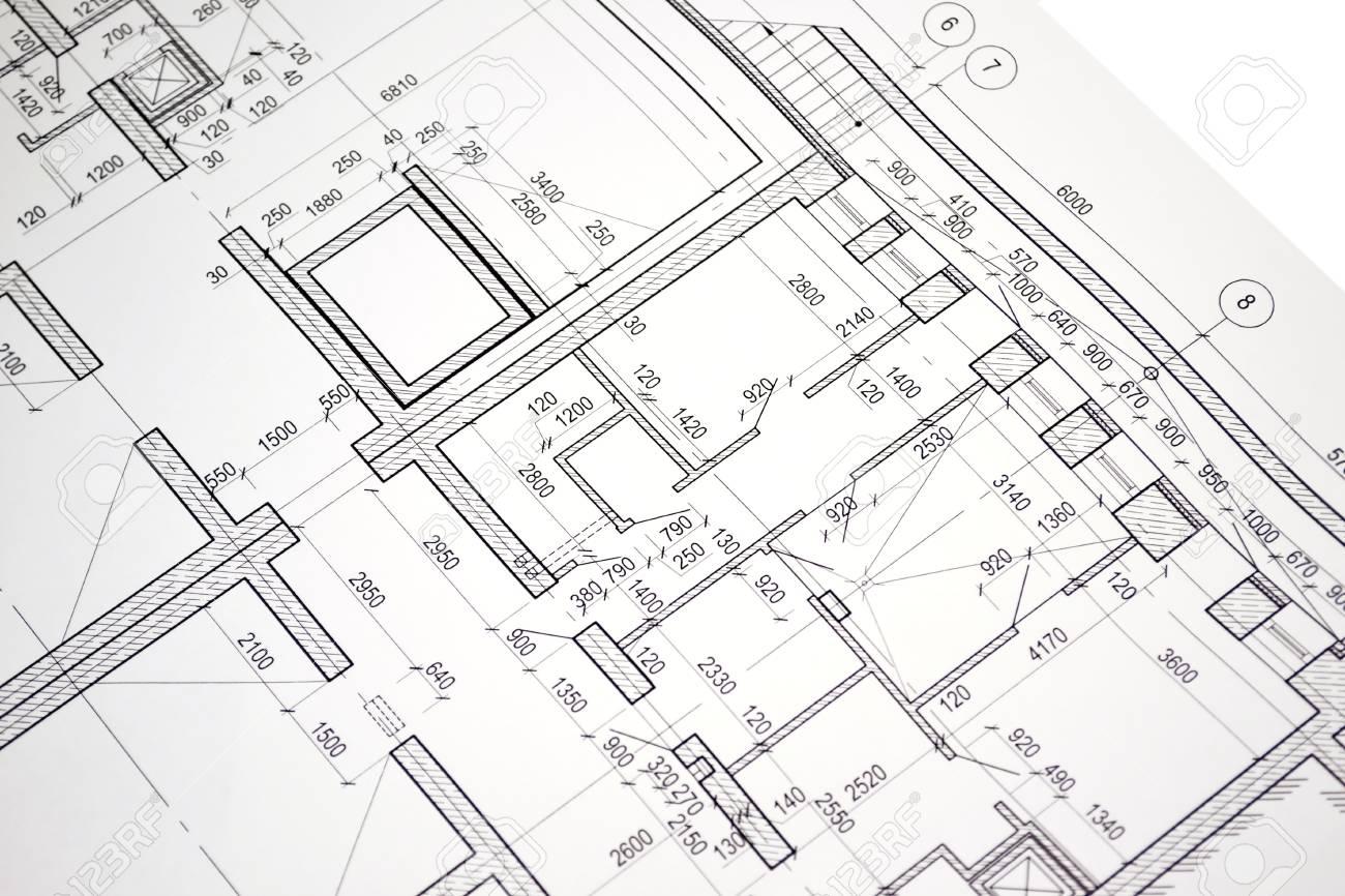 grundriss auf der zeichnung entworfene gebaude standard bild 36918637