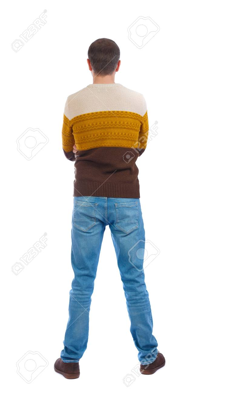 Back View Of Man In Jeans Standing Young Guy Rear View People Collection Backside View Of Person Isolated Over White Background