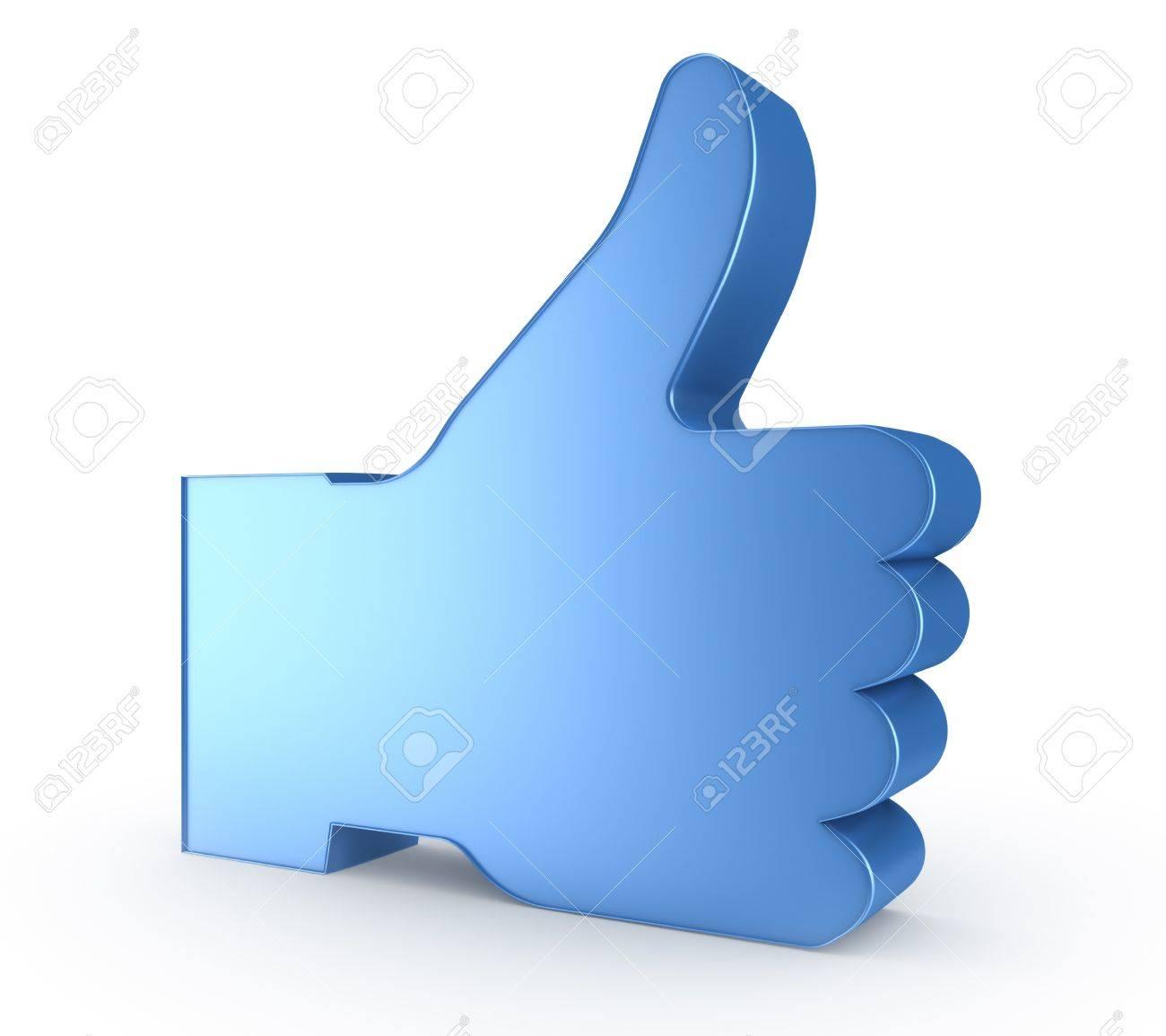 3d pouce jusqu a symbole de la main bleue