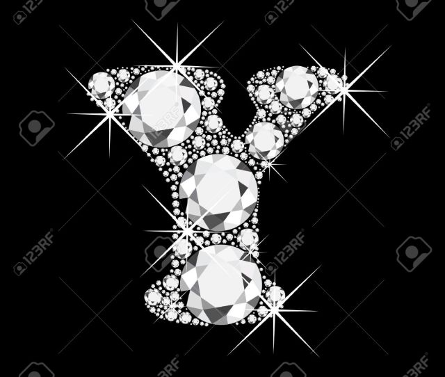 Vector Y Letter With Diamonds Bling Bling