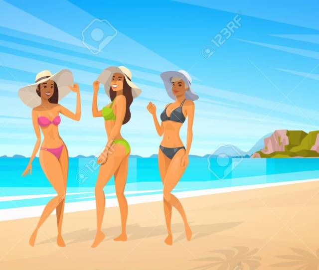 Three Woman In Bikini On Beach Sexy Girls Wear Hat On Summer Sea Vacation Flat
