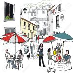 Illustration Of Village Cafe Scene Portugal Royalty Free Cliparts Vectors And Stock Illustration Image 15694580