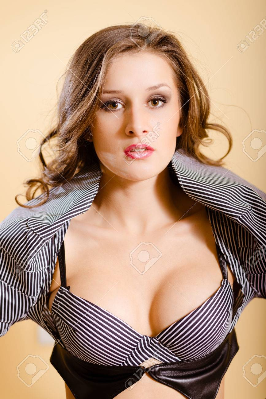 Portrait Of Beautiful Sexy Girl With Open Mouth Wearing Striped Bra Young Woman With Curly