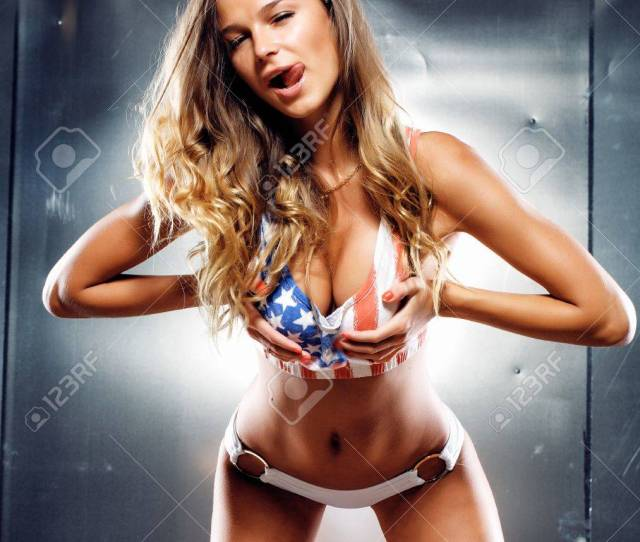 Stock Photo Very Sexy Girl In A Lingerie With American Flag