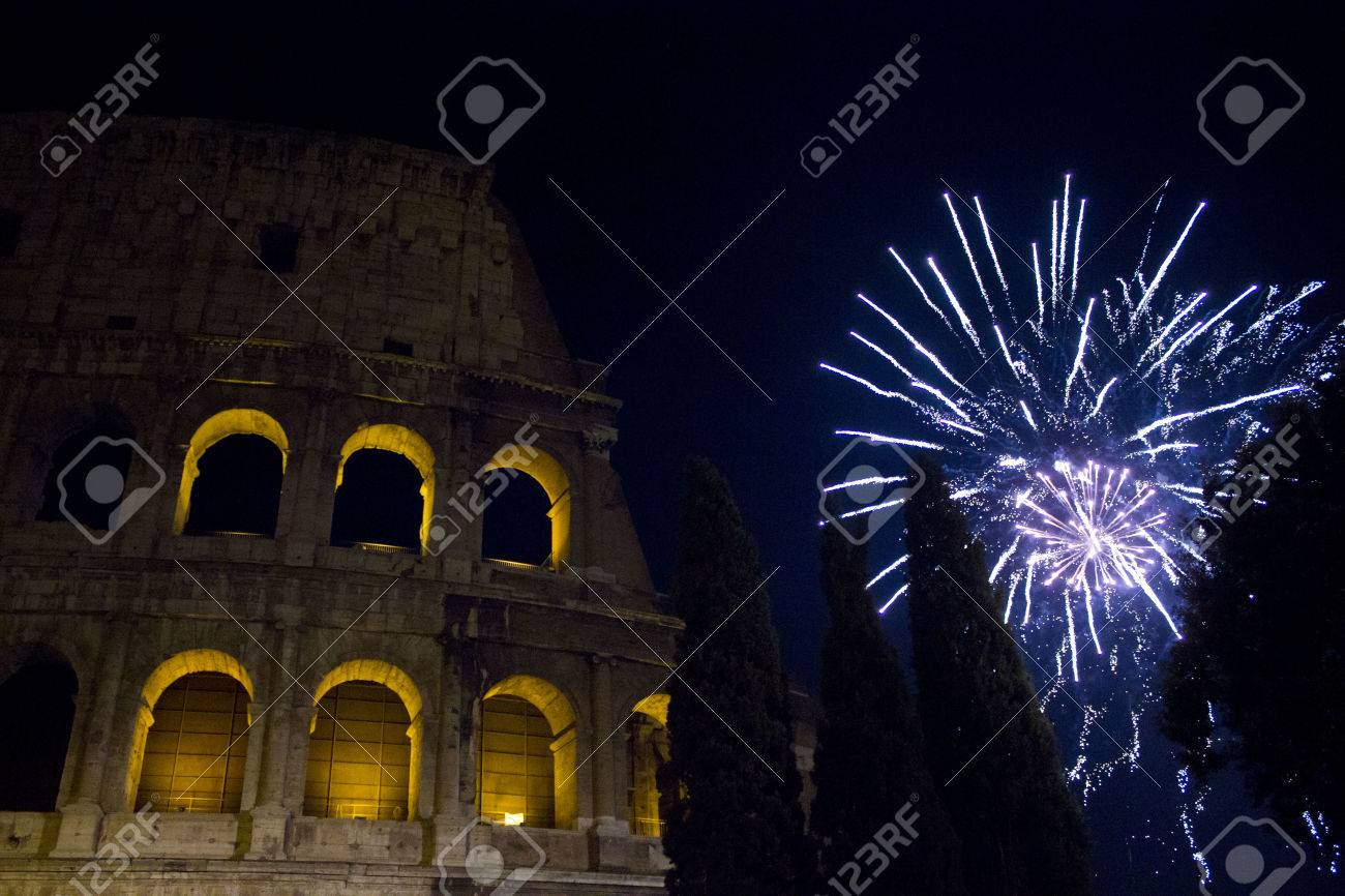 ROME  ITALY   JANUARY 1 2015  New Year Eve In Rome  Fireworks     ROME  ITALY   JANUARY 1 2015  New year Eve in Rome  Fireworks at
