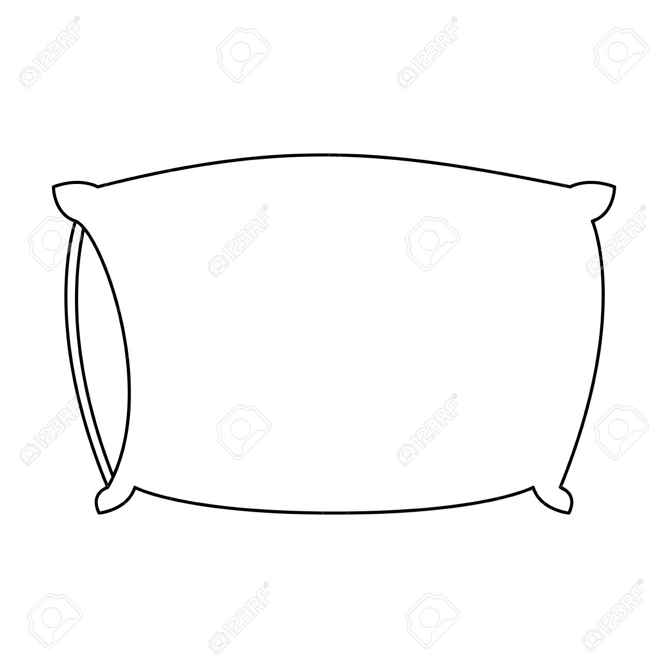 bed pillow sketch silhouette on white background vector illustration