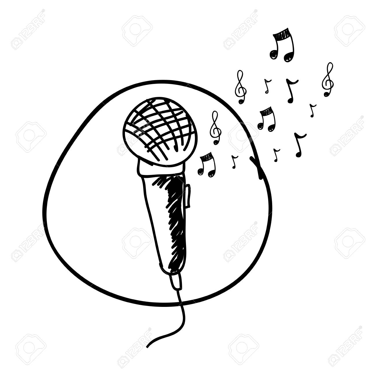 Monochrome Hand Drawing Of Microphone In Circle And Musical Notes Royalty Free Cliparts Vectors And Stock Illustration Image 97498998