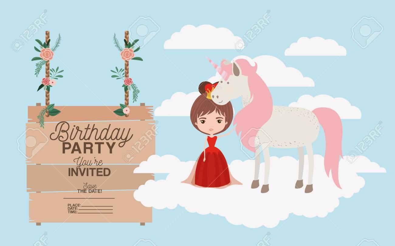 birthday party invitation card with unicorn and princess illustration