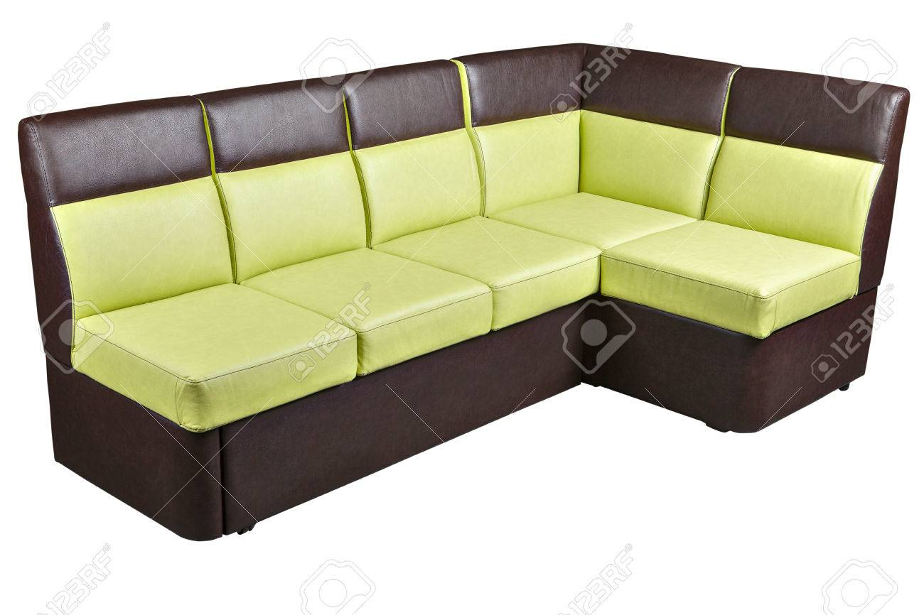 Folded Modern Leather Sectional Sleeper Sofa Brown And Yellow
