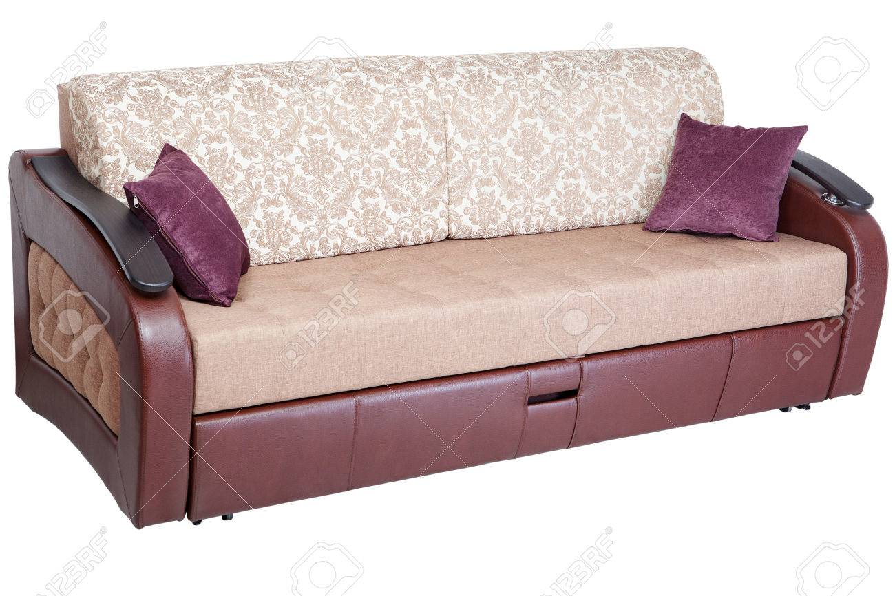 Sleeper Convertible Sofa Bed Couch With Storage Space Isolated