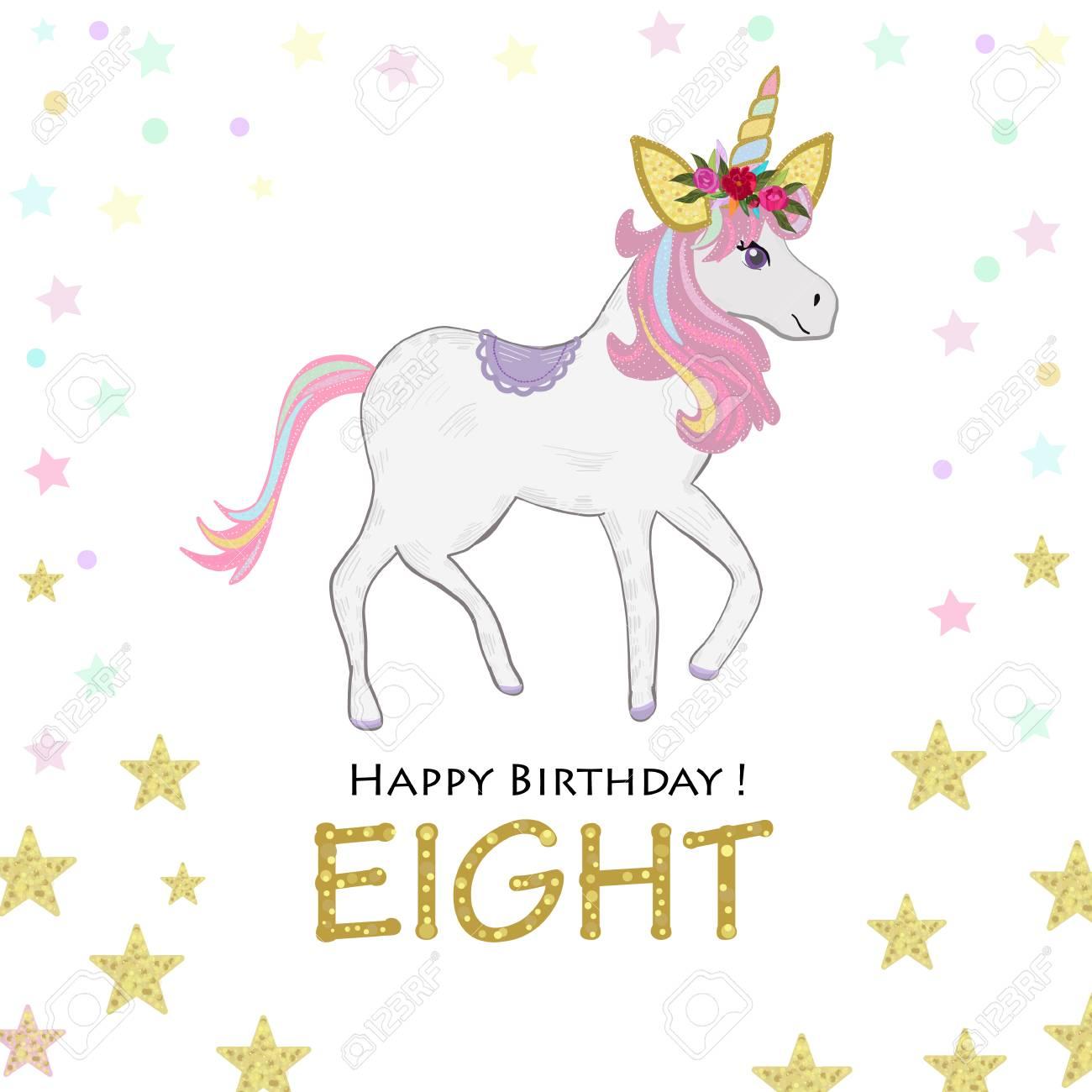 eighth birthday eight unicorn birthday invitation party invitation