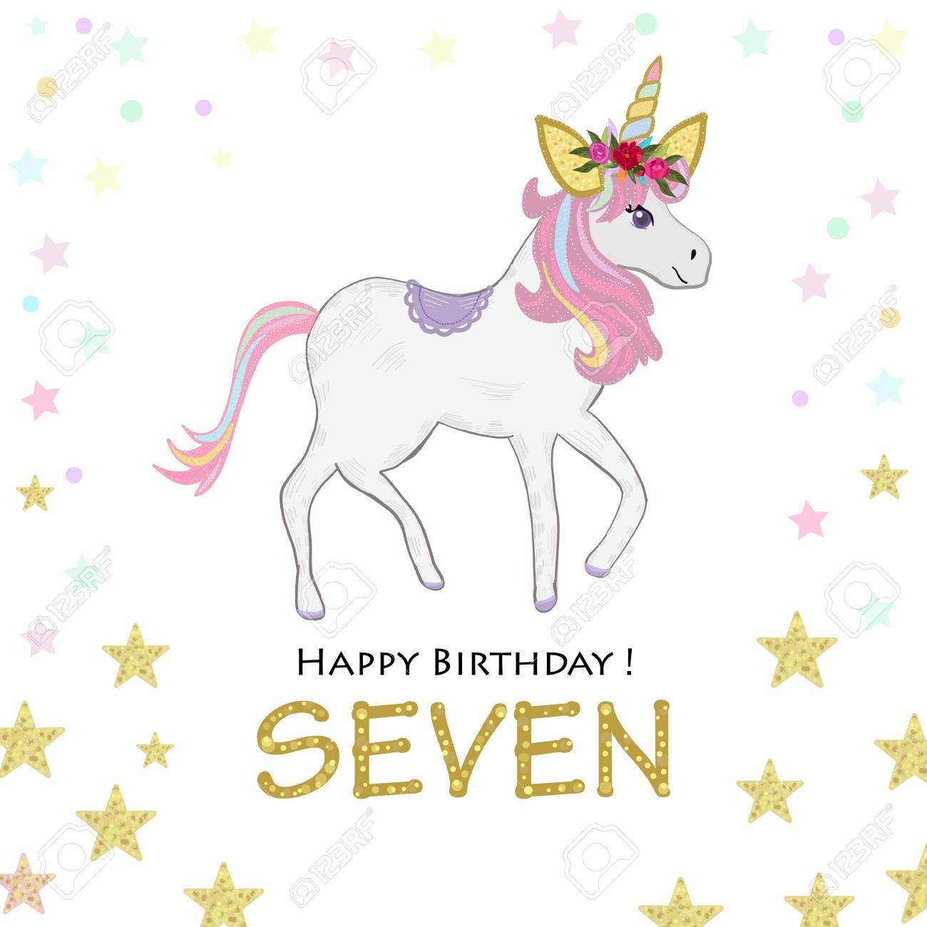seventh birthday loving unicorn birthday invitation party