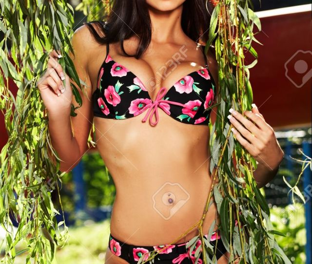 A Beautiful Model Wearing A Sexy Bikini Stock Photo