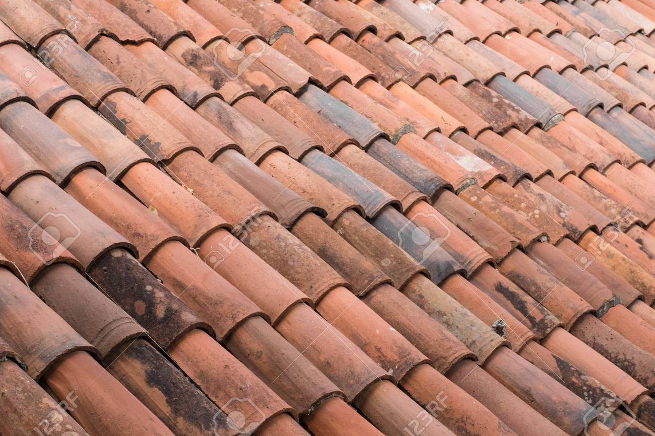 old roof tiles background vintage ceramic roofing