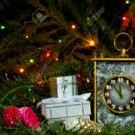 Vintage Desk Clock Several Small Packaged Gifts And Christmas