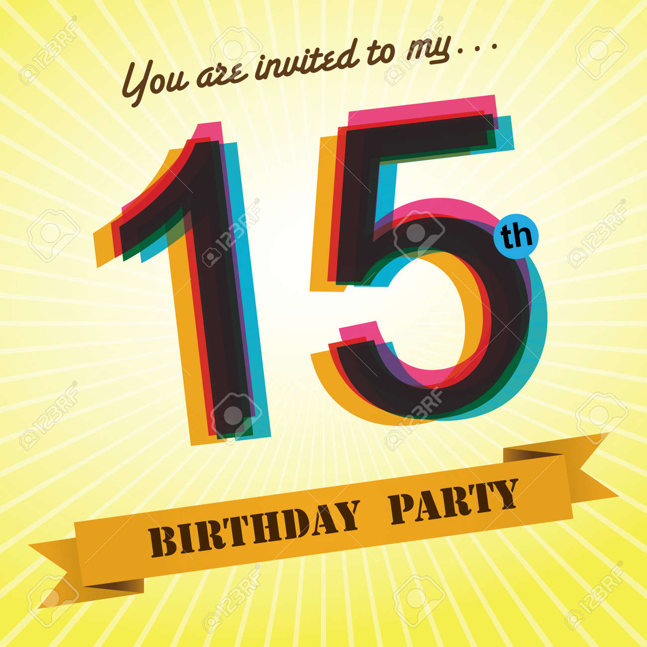 15th birthday party invite template design retro style vector