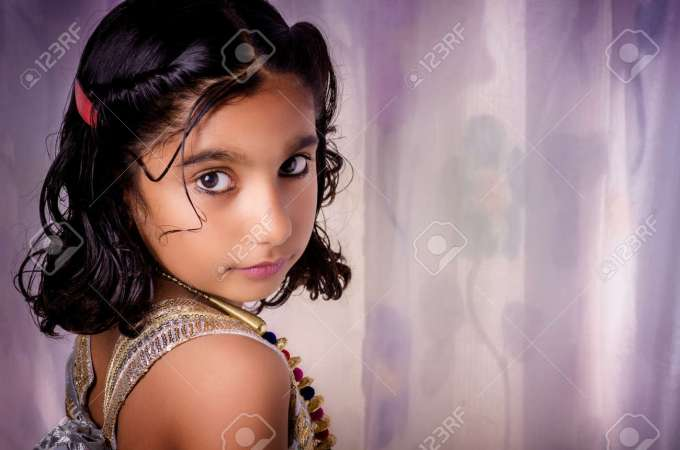 portrait of small 5-10 years old indian asian fashionable stylish..