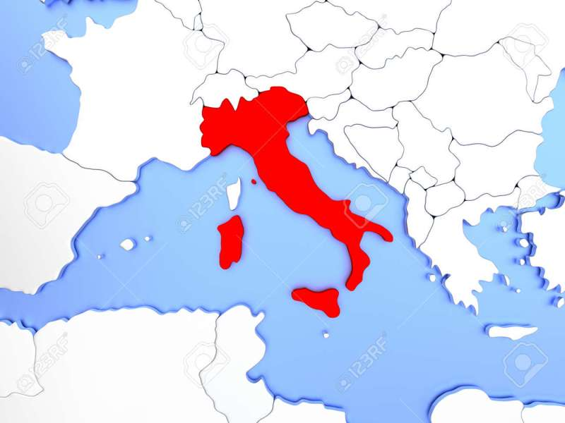 Map Of Italy Highlighted In Red On Simple Shiny Metallic Map   Stock     Illustration   Map of Italy highlighted in red on simple shiny metallic map  with clear country borders  3D illustration