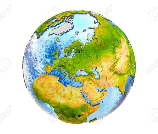Crimea On 3d Model Of Earth With Country Borders And Water In Oceans 3d Illustration