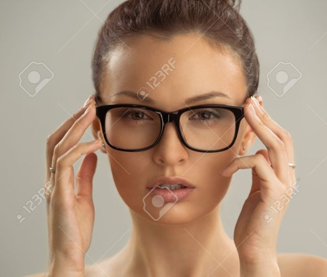 Portrait Of Hot Sexy Naked Woman Wearing Glasses Stock Photo 29734515