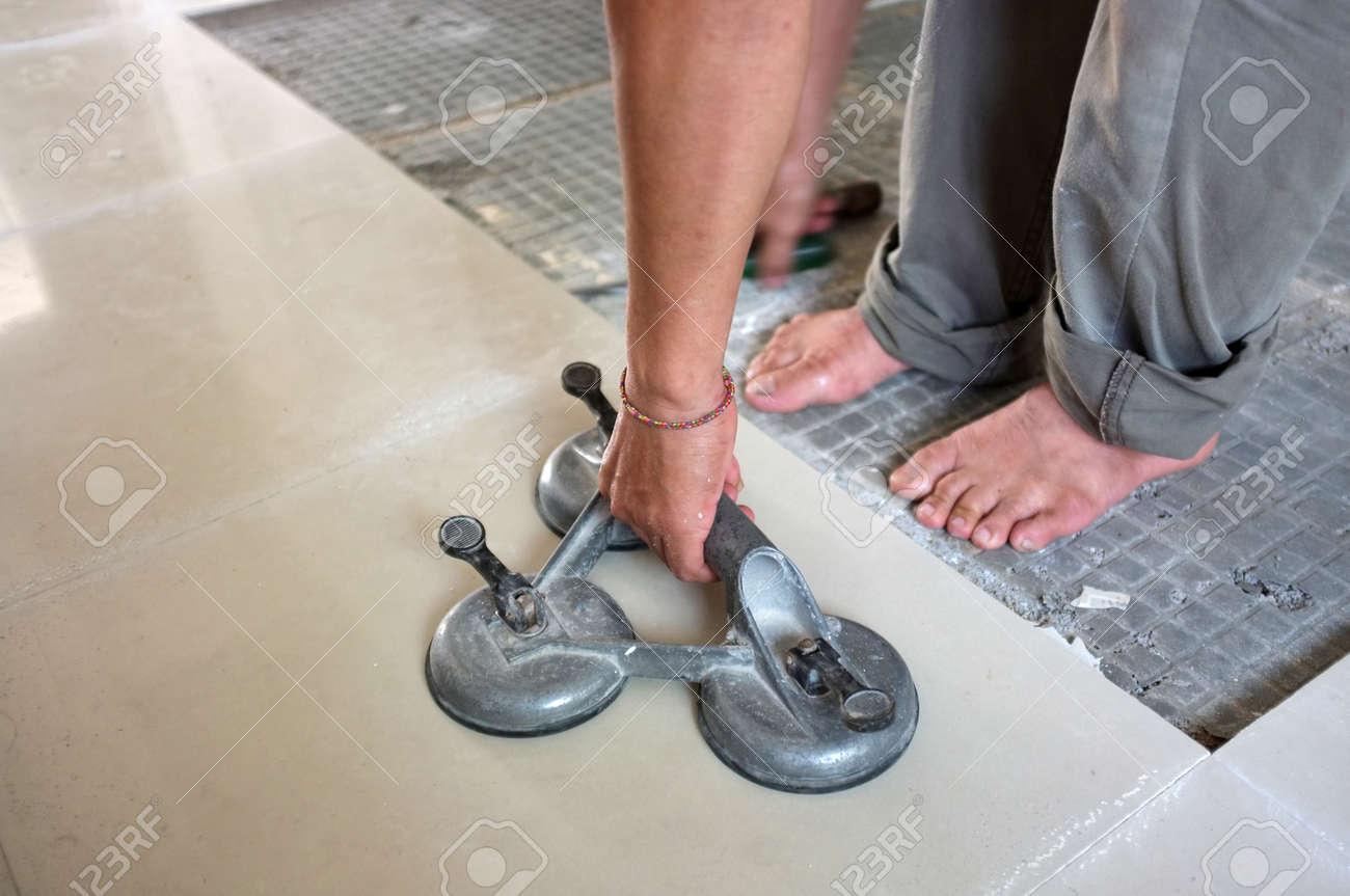 homemade replacing floor ceramic tiles broken and a tile adhesive