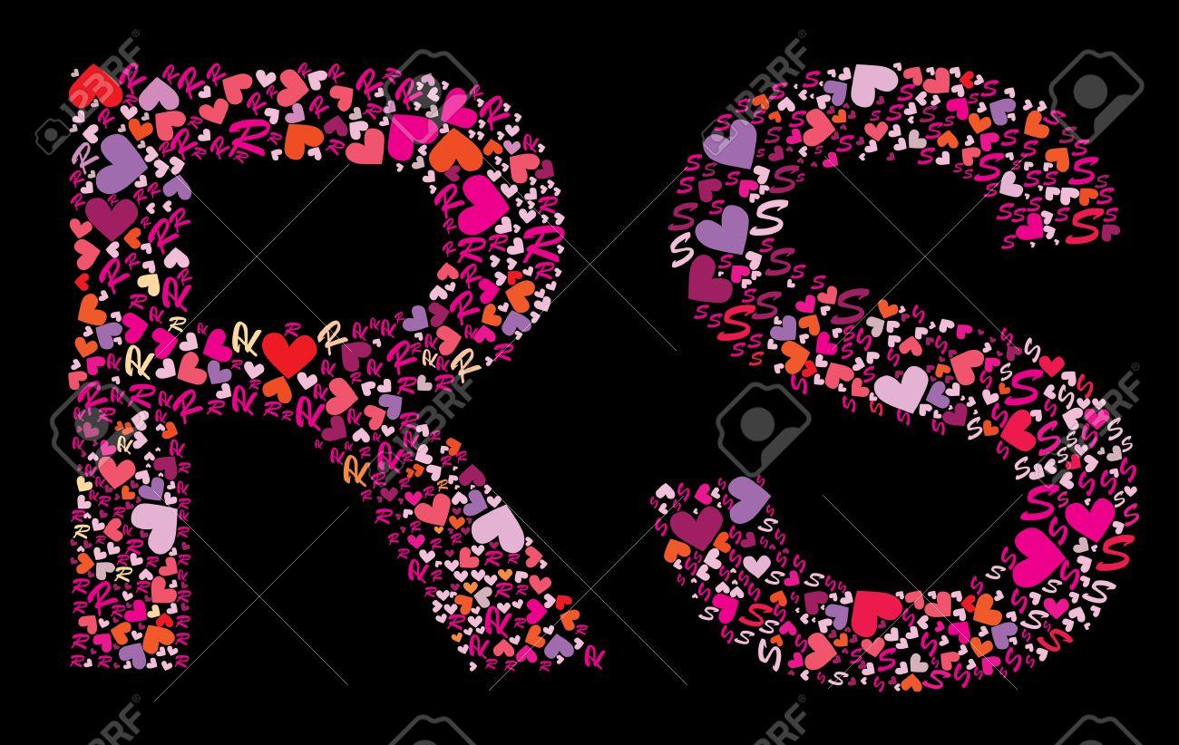 Letter R S Valentine Alphabet Set With Heart Vector Font